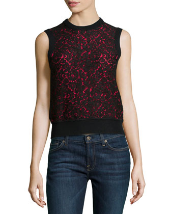 Cashmere Lace-Front Shell, Black/Azalea
