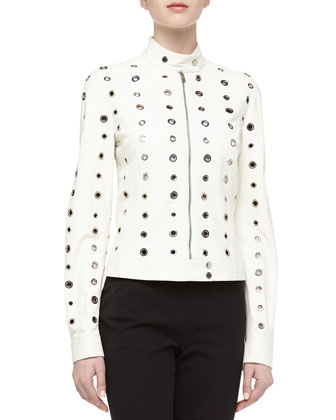 Grommet Detailed Leather Moto Jacket, Optic White