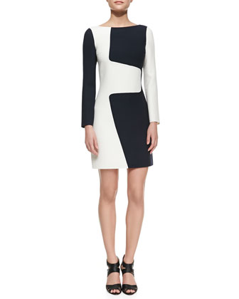 Wool Puzzle Shift Two-Tone Dress, Optic White