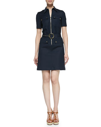Stretch Broadcloth Shirt Dress, Midnight