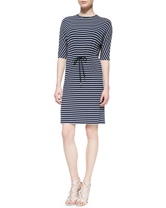 Striped Jersey Drawstring Dress