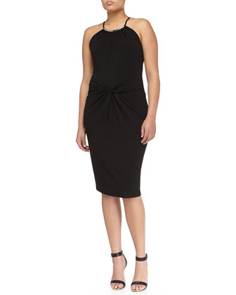 Twist-Waist Jersey Halter Dress, Black