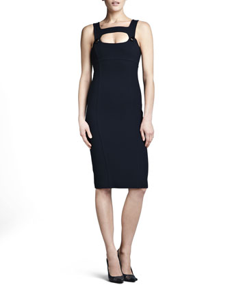 Fitted Cutout Dress, Midnight