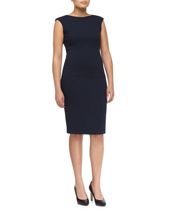 Boucle Cap-Sleeve Fitted Dress, Women's