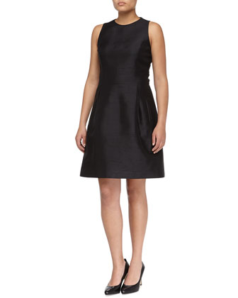 Sleeveless Shantung Bell Dress, Women's