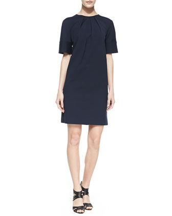 Pleated-Crewneck Poplin Shift Dress, Midnight