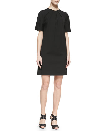 Pleated-Crewneck Poplin Shift Dress, Black