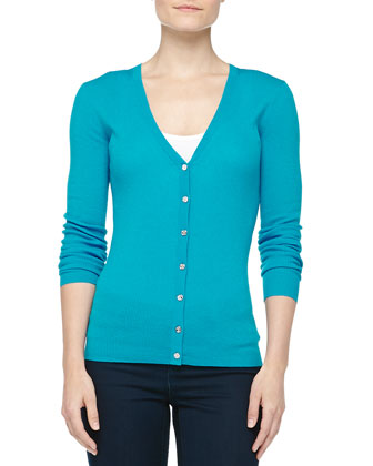 Cashmere V-Neck Cardigan, Pool
