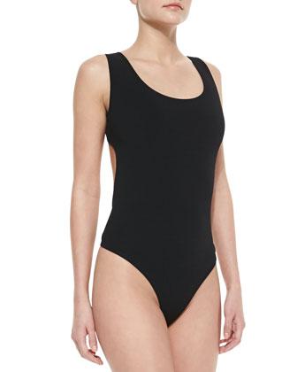 Back-Cutout Thong Tank Bodysuit, Black