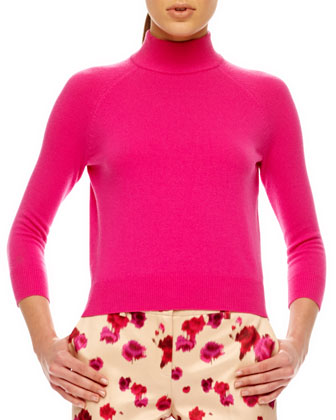 Mock-Neck Cashmere Top, Begonia