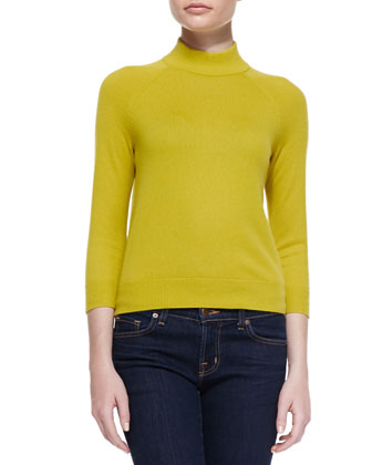 Mock-Neck Cashmere Top, Charteuse