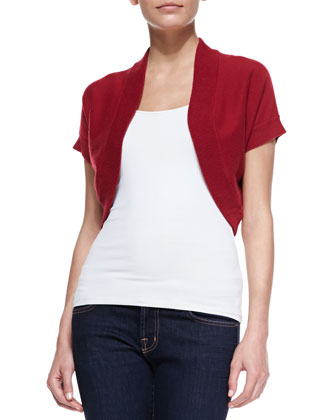 Cashmere Short-Sleeve Shrug, Rose