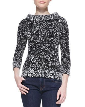 Tweed Boucle High Boat-Neck Top