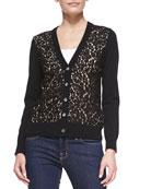 Cashmere Lace-Front Cardigan