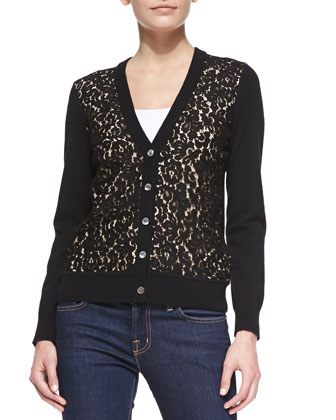 Cashmere Lace-Front Cardigan