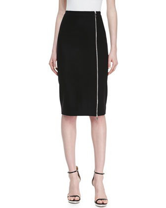 Zip-Hem Pencil Skirt, Black
