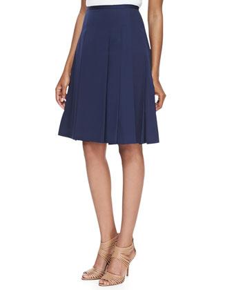 Pleated Poplin Skirt, Midnight