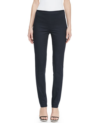 Slim Straight-Leg Twill Pants, Midnight
