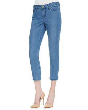 Joan Long Cropped Jeans, Indigo