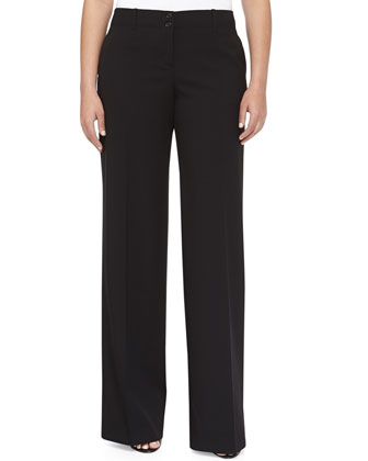 Gabardine Wide-Leg Relaxed Wool Pants, Black