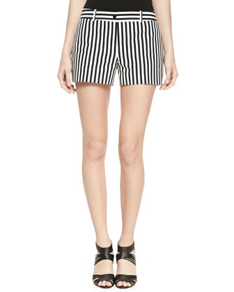 Striped Twill Mini Shorts, Black/White