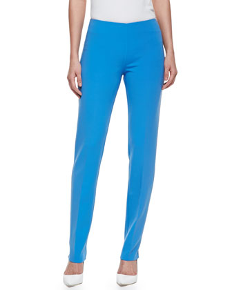 Double-Faced Slim Pants, Sea