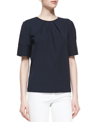 Pleated-Neck Poplin Top, Midnight
