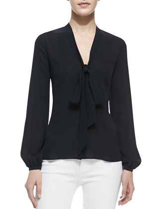 Long-Sleeve Tie-Front Top, Midnight