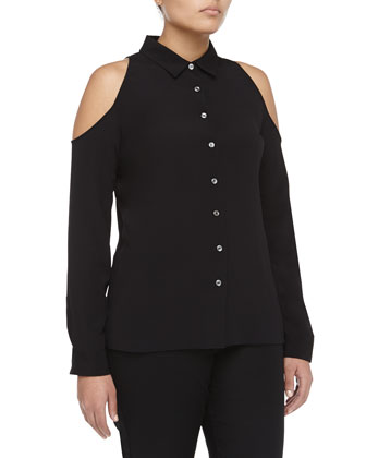 Cutout-Shoulder Long-Sleeve Crepe Blouse, Black