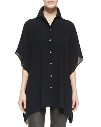 Long Chiffon Button-Front Top, Midnight