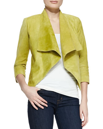 Suede Draped Moto Jacket