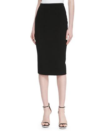 Crepe Pencil Skirt, Black