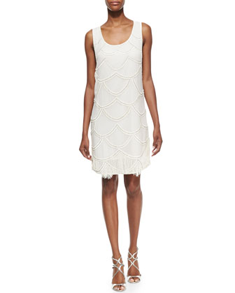 Sleeveless Beaded Fringe Cocktail Dress, Ivory