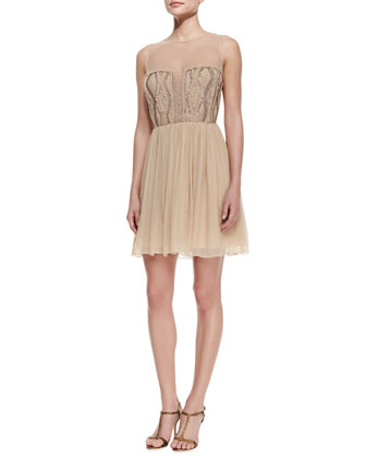 Illusion Beaded-Bodice Cocktail Dress