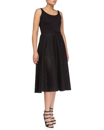 Felt Perforated Circle Skirt, Black
