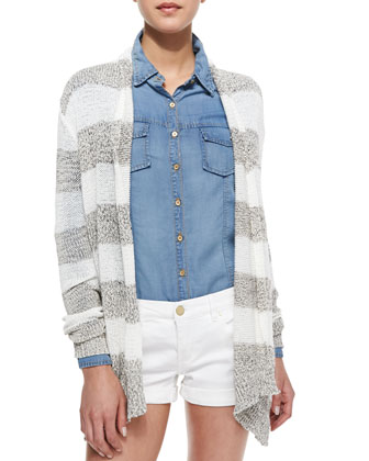 Elira Striped Open-Front Cascade Cardigan, Black/White