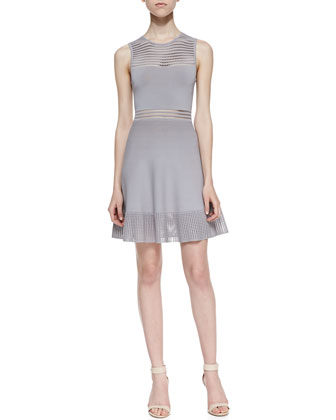 Mabel Open Stitch Fit-And-Flare Dress, Gray