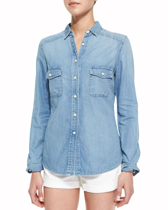 Double Pocket Chambray Shirt, Light Marble