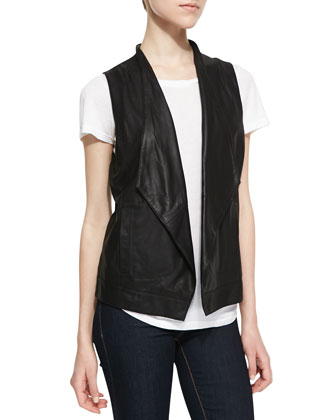 Soft Leather Open-Front Vest, Black