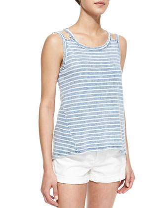 Washed Vintage Striped Slub Tee, Blue