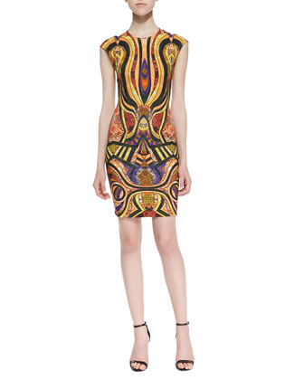 Morgan Mixed-Tiles-Print Sheath Dress, Gold