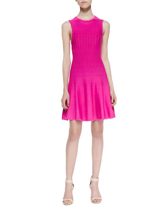 Yana Scalloped Faille Dress, Pink