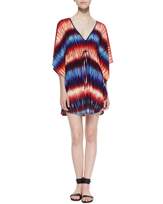 Tyra Fade-Print Tie-Front Caftan, Blue/Red
