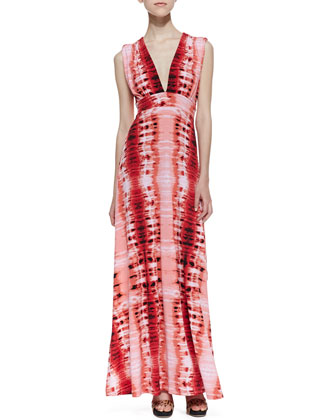 Venus Tie-Back Stripe-Print Maxi Dress, Red