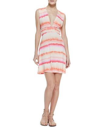 Cotton Candy Tie Dye Tie-Back Sundress, Pink