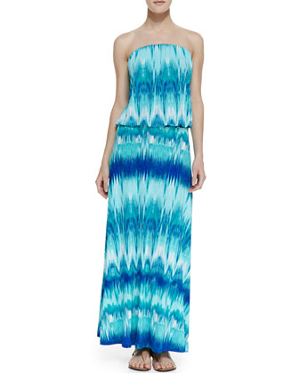 Gilda Drop-Waist Arched Tie Dye Maxi Dress, Green