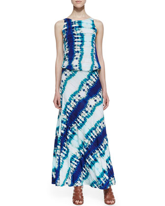 Drop-Waist Diagonal Tie Dye Maxi Dress, Blue