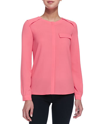 Army Crepe Button-Front Blouse, Peony Pink