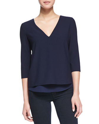 Susan V Cutout Zip Detail Blouse, Navy