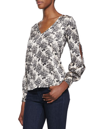 Katherine Evening Rose Print Cold-Shoulder Blouse, Black/Beige